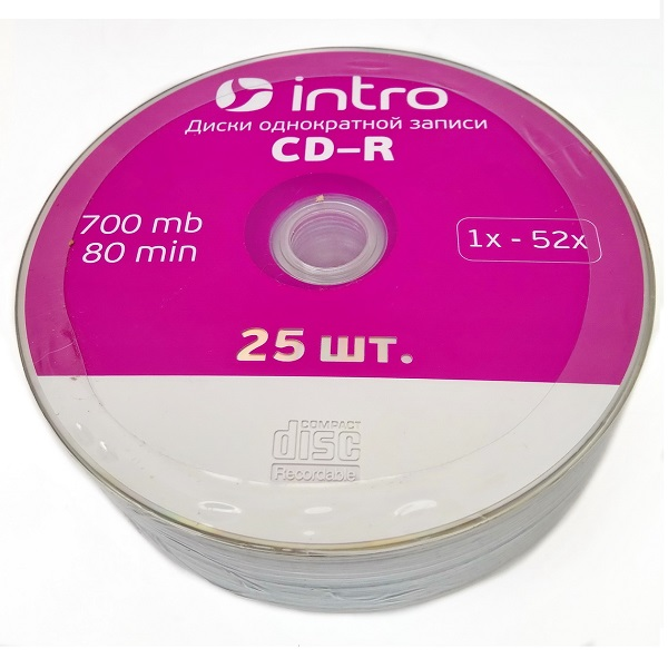 Диск CD-R INTRO 52 x 700Mb Shrink 25 (16205)