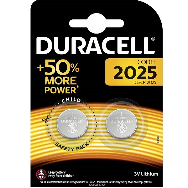 Батарейка DURACELL CR2025 BP2 3В (37272)