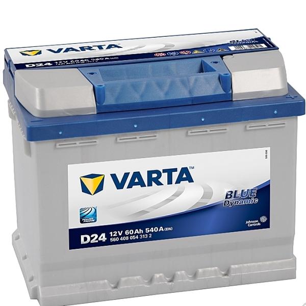 Авто аккумулятор VARTA Blue Dynamic D24 60Ач пуск.ток 540А (119501)